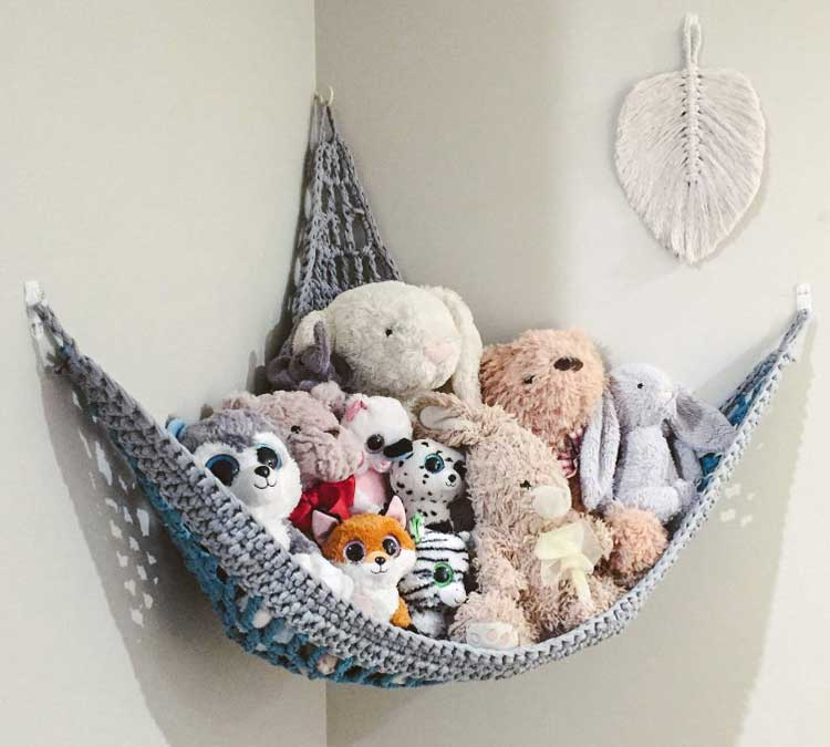 Create A Cute Hammock To Store Stuffed Animals In The Corner