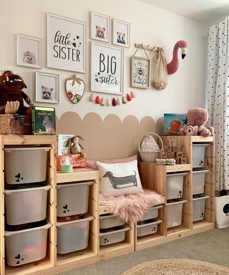 Create Custom Shelves with Toy Storage Bins For Kid's Room