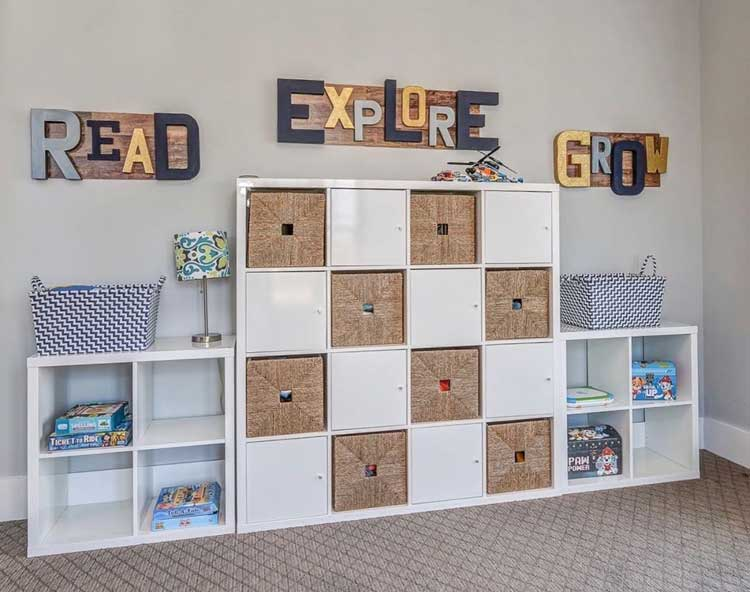 Cubby Storage with Cute Decor on Walls