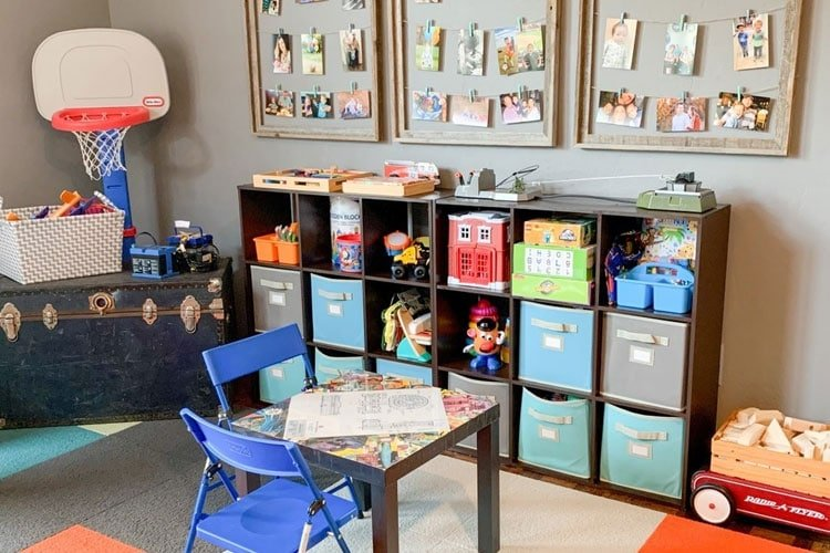 Cubby with Baskets and Storage Trunk in Playroom