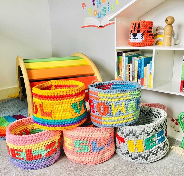 Custom Colorful Woven Baskets To Store Toys and Stuffed Animals