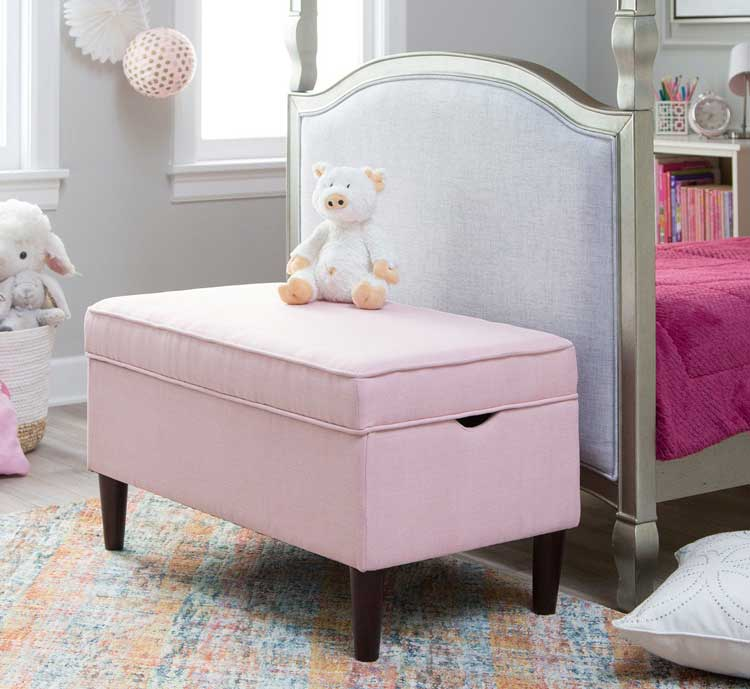 Cute Upholstered Storage Bench For Little Girls
