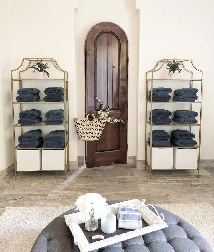 Elegant Etageres For Open Towel and Linen Storage Space