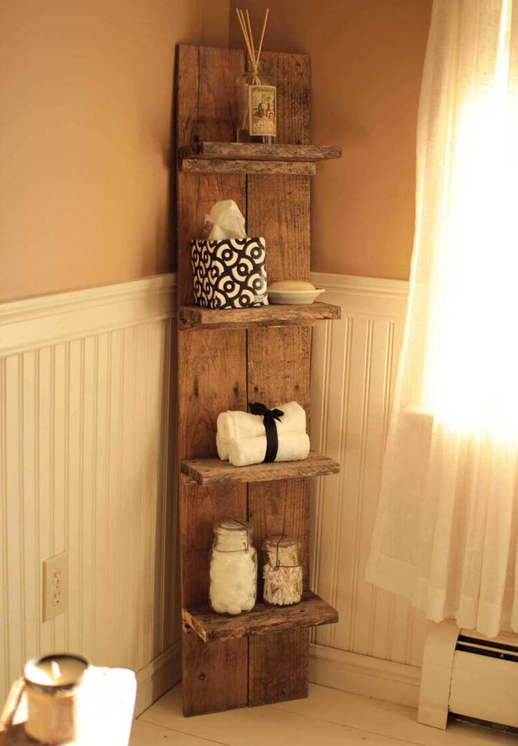 Freestanding Shelving Adds Rustic Flair