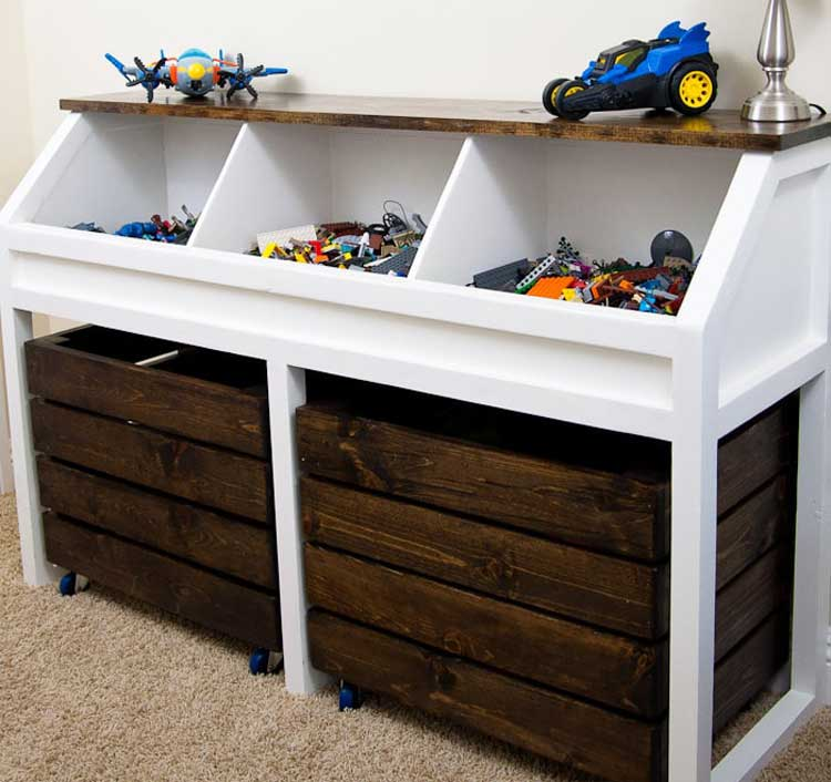 Give New Furniture A Rustic Feel with Wood Stain Toy Storage