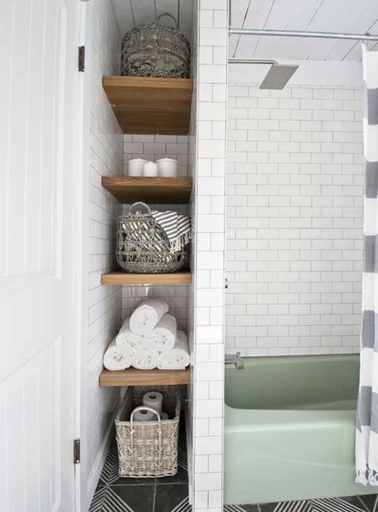 Hideaway Storage in A Small Vintage Bathroom