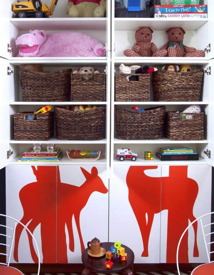 Large Cabinet Full of Baskets with Toys, Books and Stuff Animals