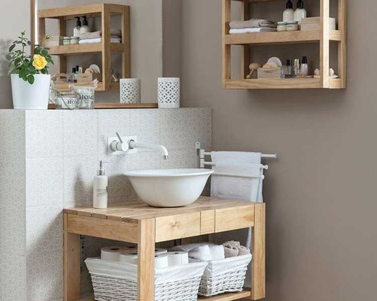 Matching Vanity and Shelving with Baskets