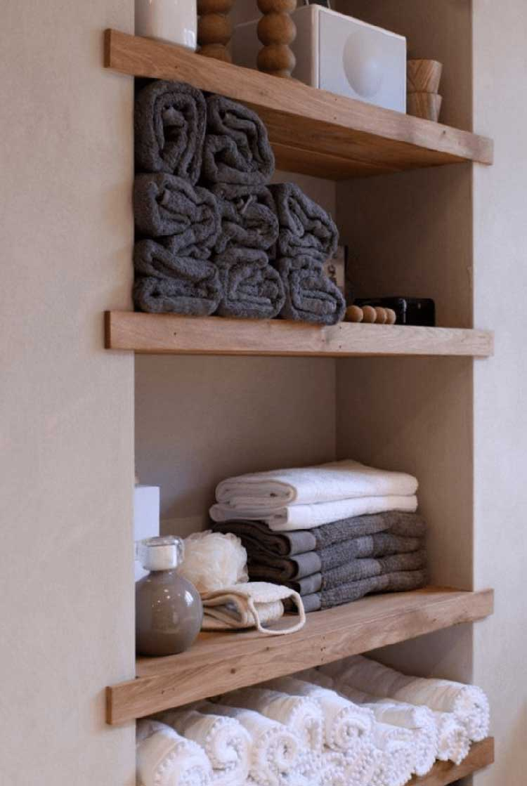 Minimalist Wood Shelving For Towels and Bath Items