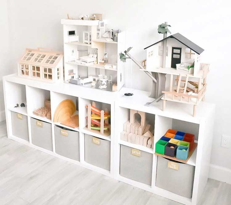 Modern White and Grey Shelves with Top Space For Kids Storage