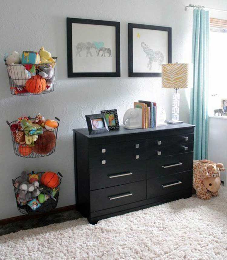 Mounted Baskets Make Unique Toy Storage Solutions