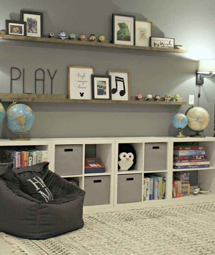 Open Shelving with Cube Storage For Game Room