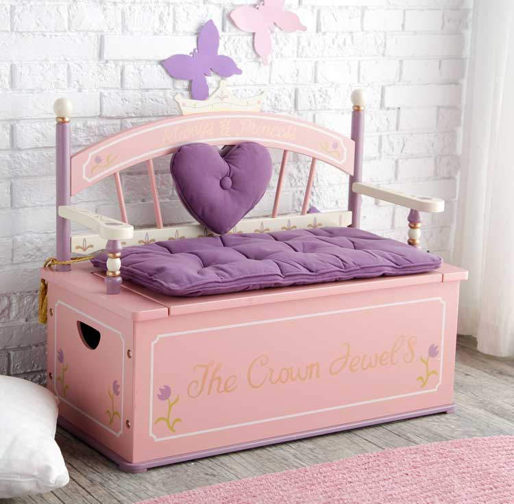 Princess-Themed Toy Box with Bench For Storage