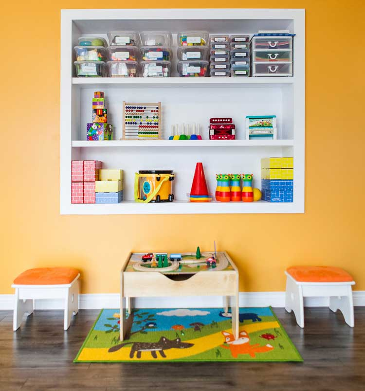 Recessed Shelving As Toy Storage
