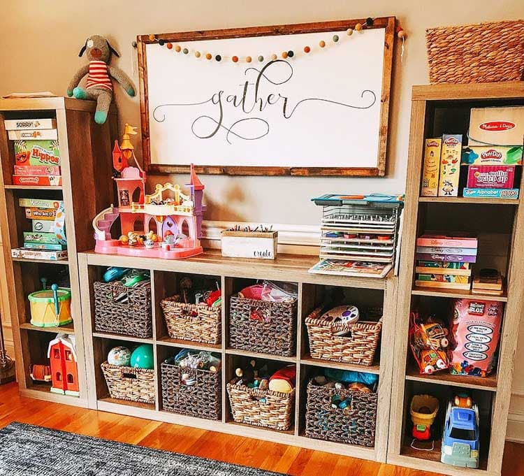 Repurposed Large Wall Storage For Games and Toys
