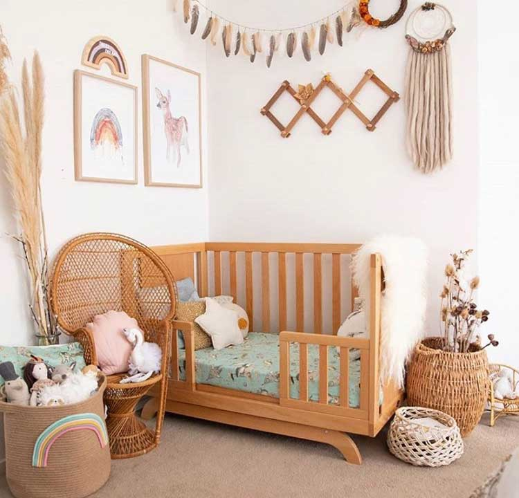 Scandinavian-Style Kid's Bedroom with Baskets
