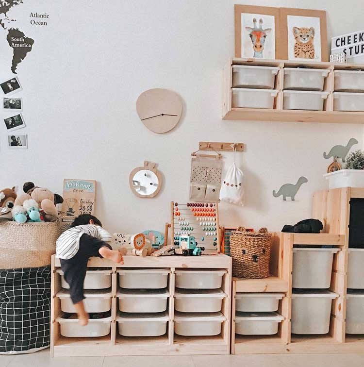 Sliding Bins and Large Toy Basket For Plenty of Storage Space