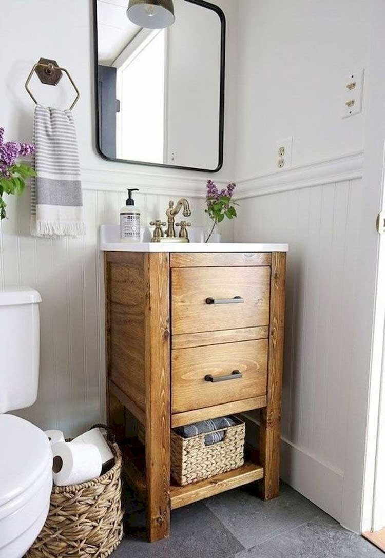Small Bathroom Vanity with Baskets and Hooks For Storage