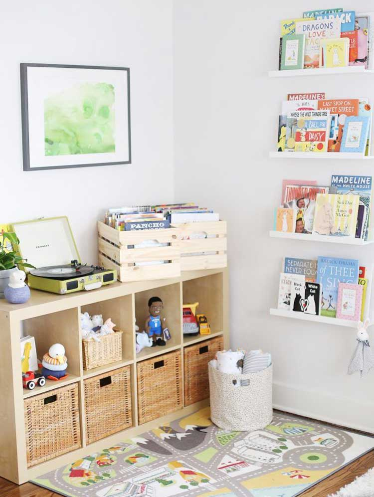 Small Light Color Cubby with Book Shelves