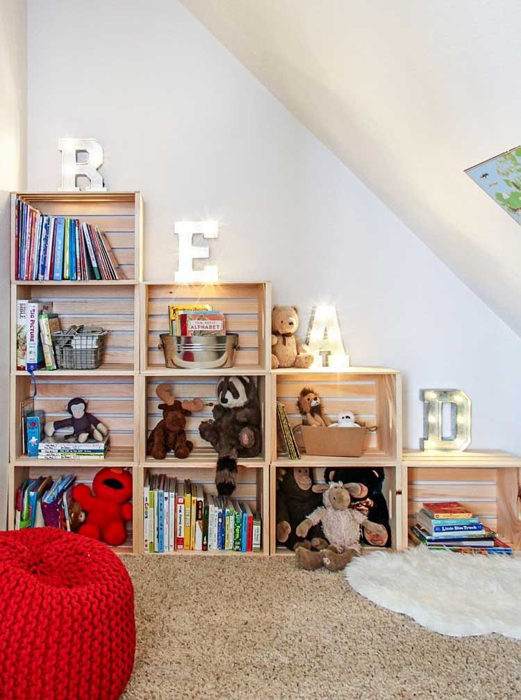 Stack Crates For DIY Toy Storage In Small Spaces