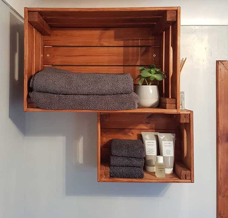 Stained Crates Make For Inexpensive and Elegant Shelving