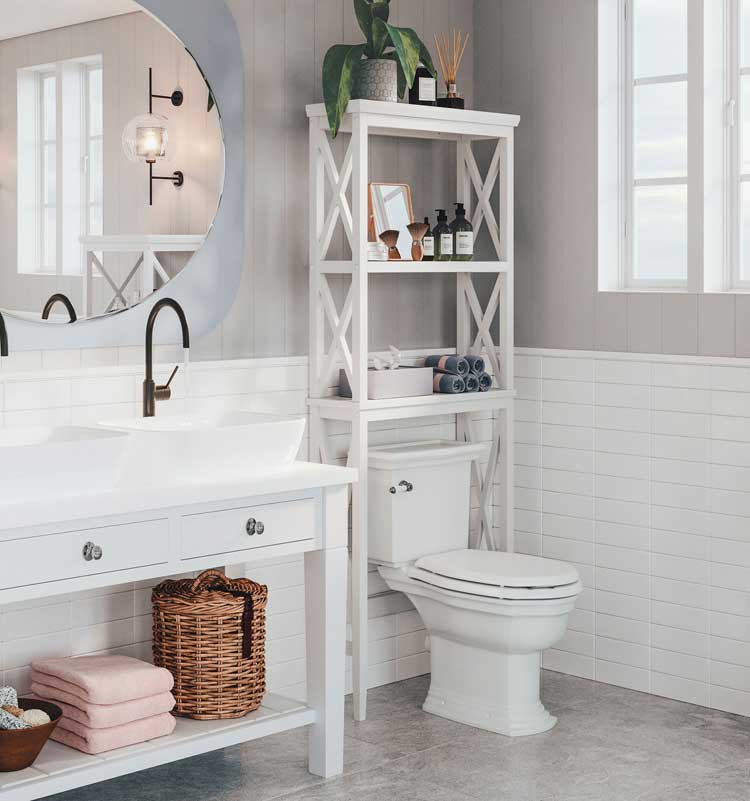 Storage Space Over The Toilet Works For Small Bathrooms
