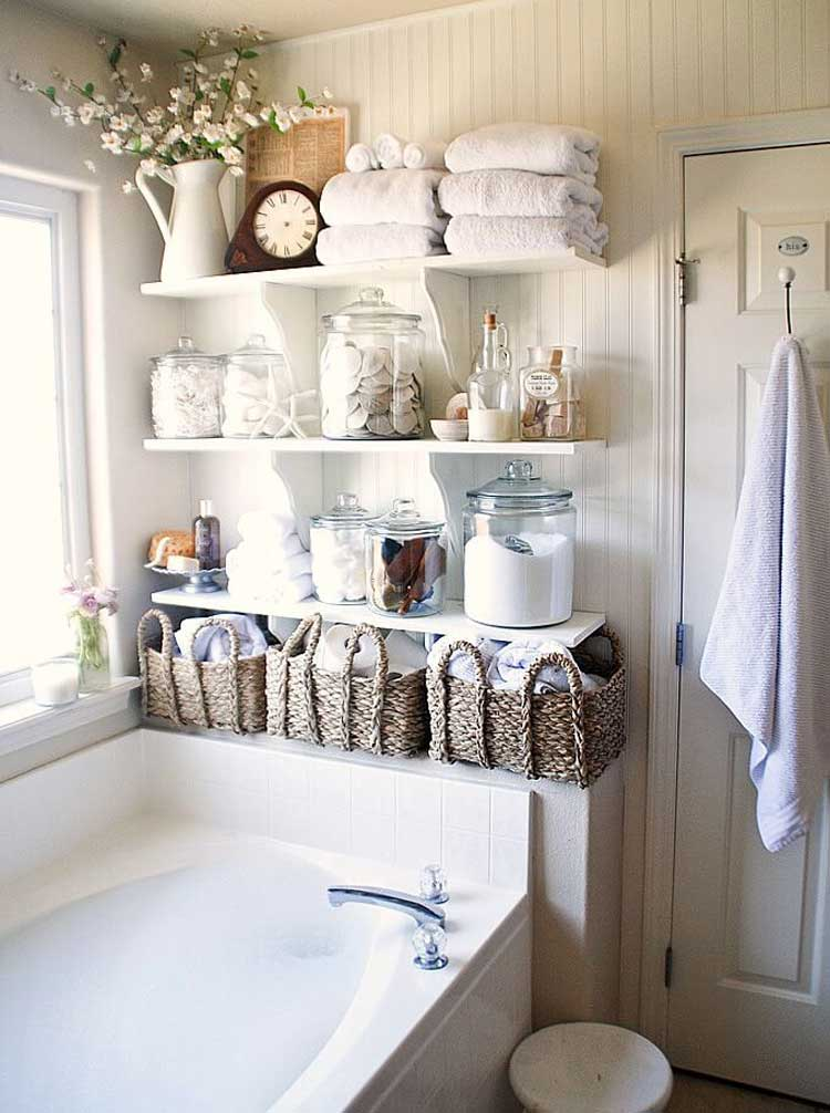 Towel Baskets and Shelves For Simple Decor