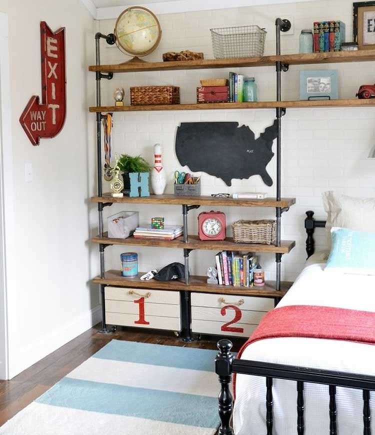 Trendy Industrial Shelving in Kid's Bedroom