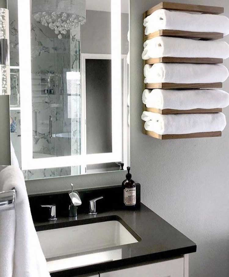 Wall Towel Storage with Modern Stacked Shelving