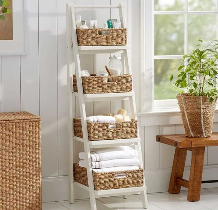White Ladder Shelf with Wicker Baskets For Extra Space