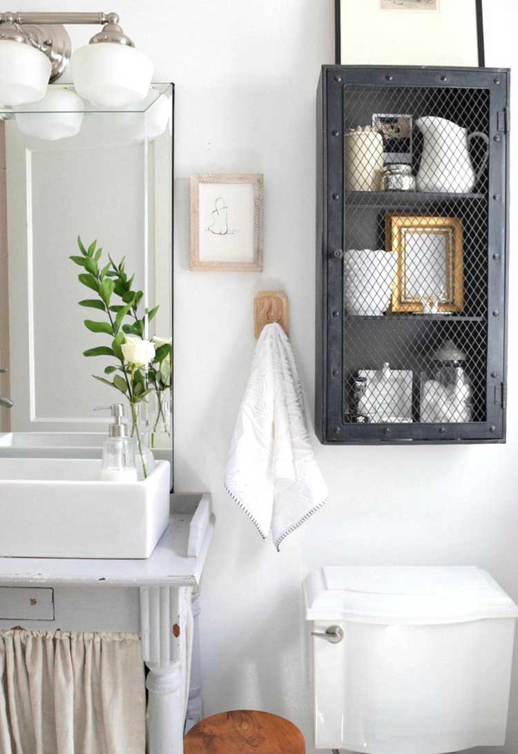 Wood Vanity with Open Bottom and Cage For Toiletries