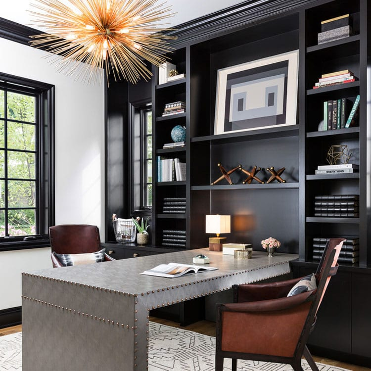 Cool Office Decor For Two with Peninsula-Style Desk