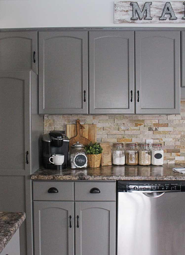 Natural Farmhouse Kitchen Brick Backsplash