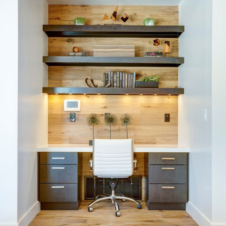 Office Wall with Comfortable Chair and Open Shelving