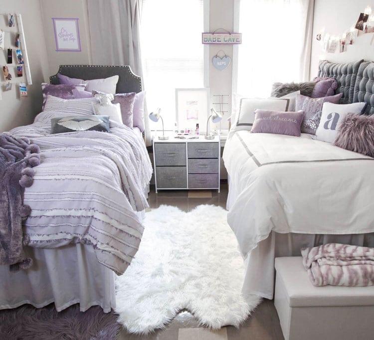 Purple College Dorm Room Decor