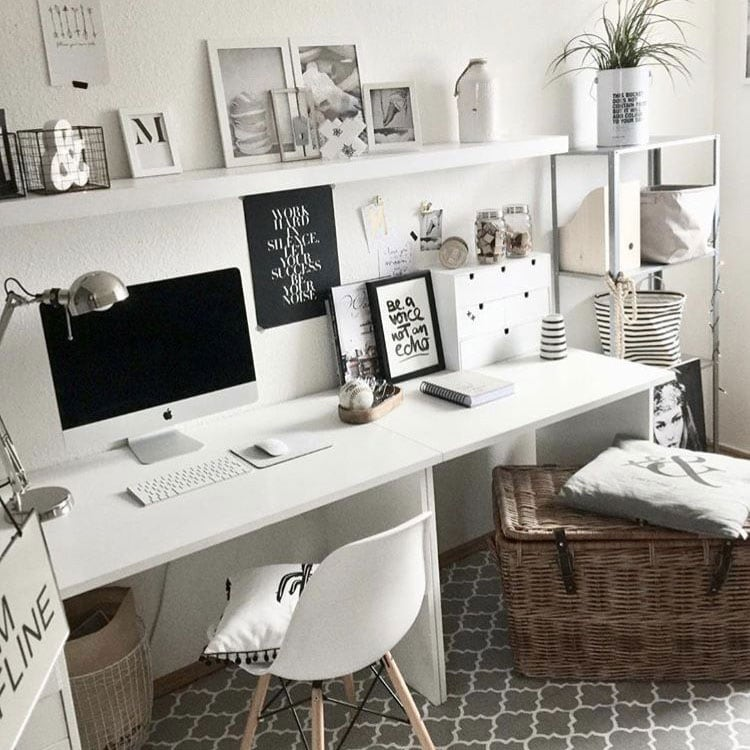 White Office Decor in Room