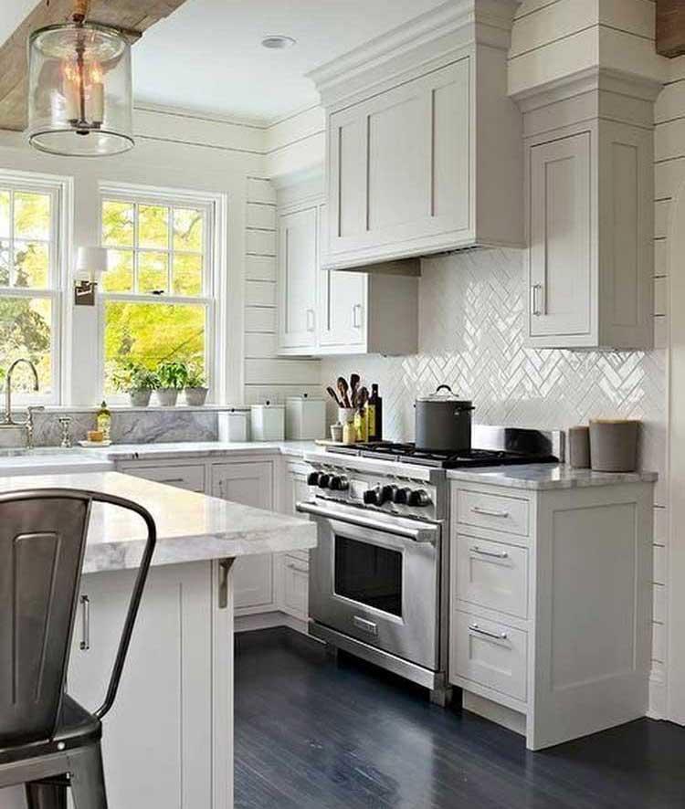 White Tile Backsplash For Kitchen