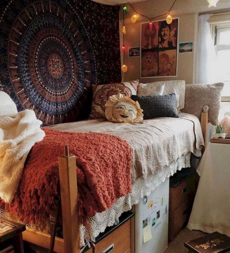 Bohemian Dorm Room Setup with Tapestry