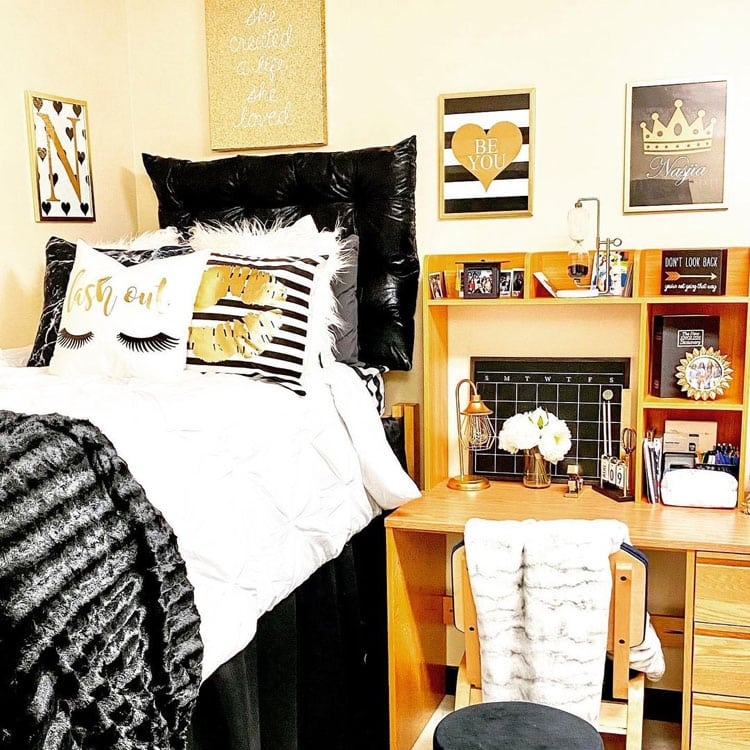 Classy Glam Dorm Room Decor