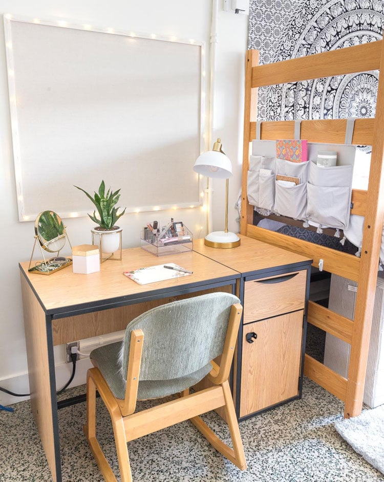 College Girls Dorm Room Desk Area