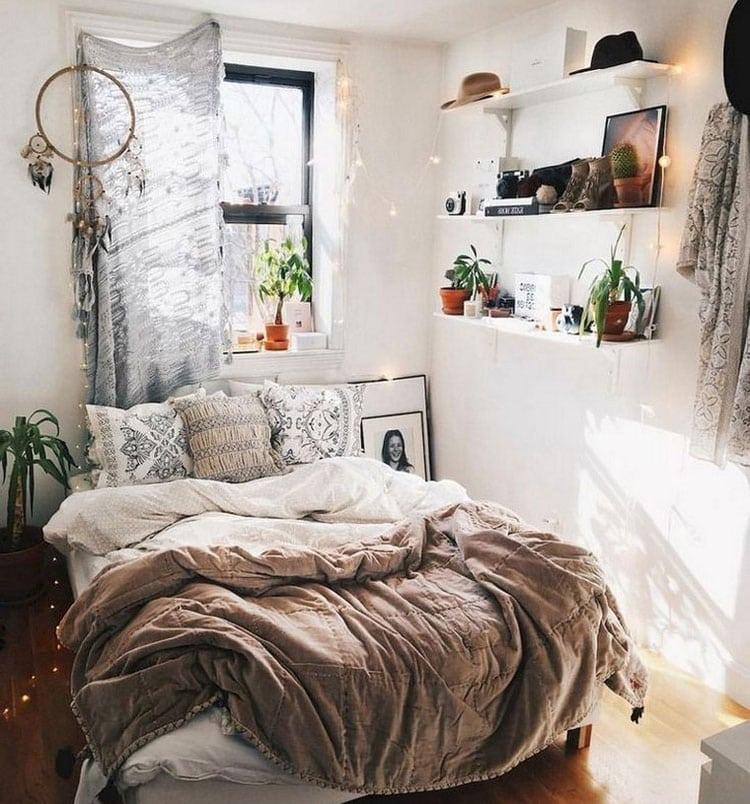 Cool Boho Dorm Room with Shelving
