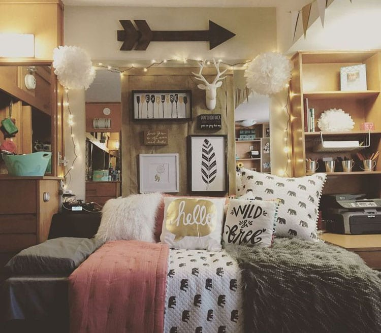 Cool Dorm Bed with Lights and Wall Decor