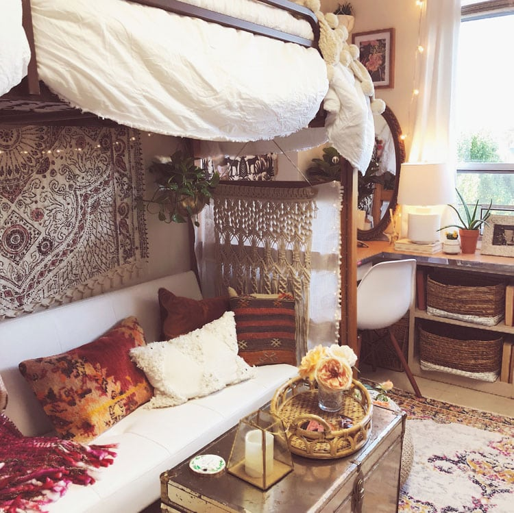 Creative Dorm Living Room with Bed