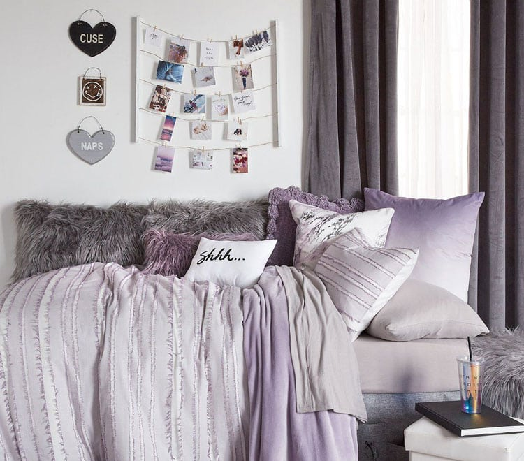 Cute Dorm Room Bed with Comforter
