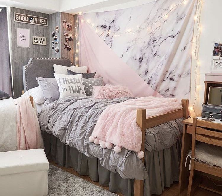 Dorm Room with Cute Bedding and Lights
