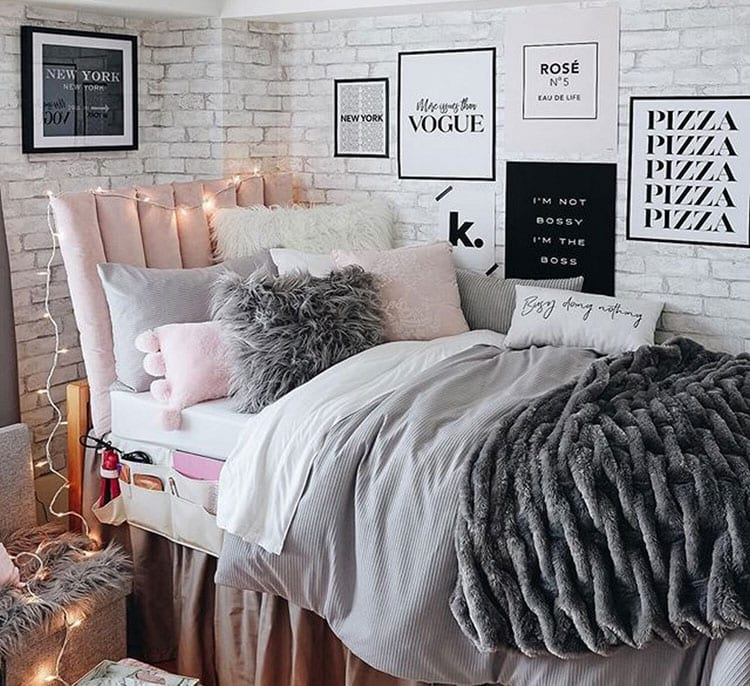 Dorm with Wall Art and Cool Bedding