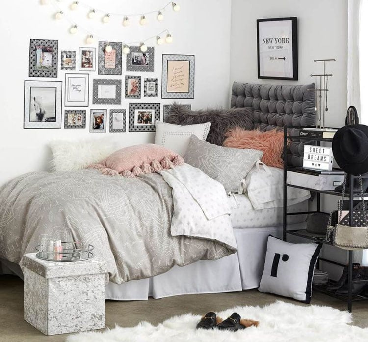 Grey Dorm Room Decor with Art and Shelving