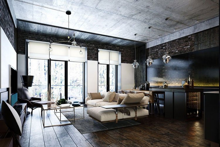 Industrial Style Bachelor Apartment