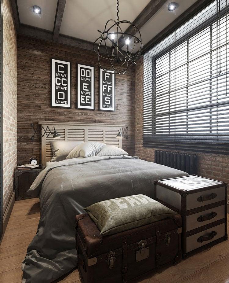 Wood Panel Bedroom For Men